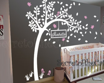Wall Decal Nursery-Wall Decals Tree Decal With Name-Large Tree Wall Decals Personalized Names And Birds-Tree Wall Decals Decor Wall  Sticker