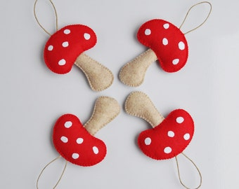 4 Red Mushroom Christmas Ornament - Baby Shower - Party Favor