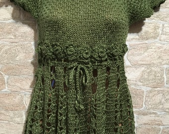 Green Blouse ,CrochetBlouse,knitted Blouse,sleeveless top