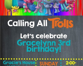 Trolls  Birthday Invitation- Printable