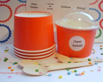 12 Red Ice Cream Cups - Large 16 oz