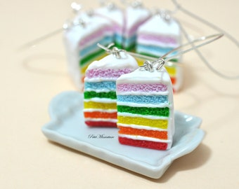 Earrings rainbow cake-Jewelry Fimo-Birthday Party-Slice of Cake