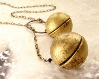 Vintage ball locket lariat, Sphere Locket pendant, statement necklace, Orb locket lariat