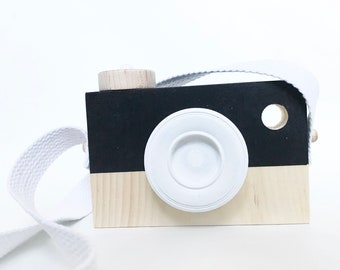 WOODEN PLAY CAMERA, black & white colour, shelf decor,  photo prop,  imagination play, wooden toys