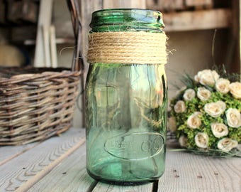 Vintage Glass Jar - Les Ecos - French Mason Jar - Green Glass Jar - 1 Liter - Kitchen Storage - Kitchen Glass Container - French Home Decor