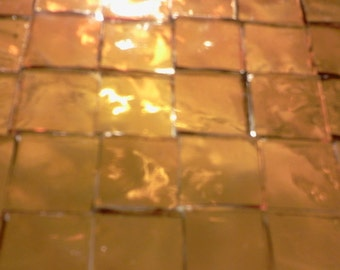 """SUNSHINE GOLD Golden Amber 1/2"""" Tiles Mosaic Stained Glass Supply A20"""