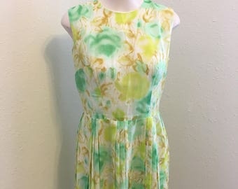 pastel green and yellow spring sheath dress