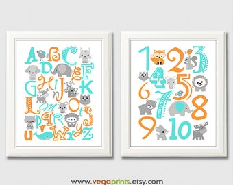 Turquoise and orange Alphabet and numbers art print - UNFRAMED - aqua, grey,  nursery wall art, kids room decor, 123, abc, safari animals