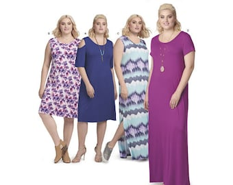 Sewing Pattern for Plus Size Women's Knit Dresses, Simplicity Pattern 8590, Plus Size 1X to 5X, New Spring 2018 Line, Maxi Dress, Variations