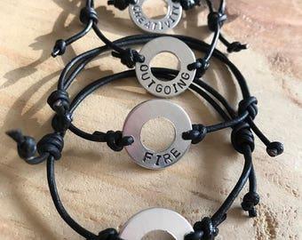 Custom word bracelet washer bracelet mens bracelet personalized leather bracelet custom best friends bracelets word bracelet  personalized