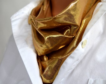 Unisex Scarf Metallic Gold Infinity Scarf Lightweight Ascot Holiday Scarf Neck Warmer Club Wear Men Circle Scarf Gold Neck Wrap New Years