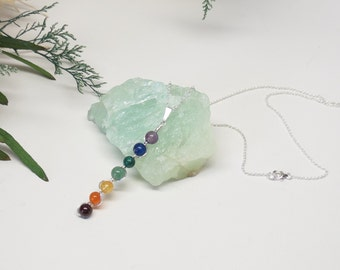 Chakra Necklace, Mixed Gemstone Pendant Necklace In Sterling Silver, 7 Stone Chakra Necklace, 15-18 Inches, Keira's Crystal Creations