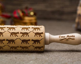 Cats Engraved rolling pin Embossed rolling pin Cats engraved Rolling pin Engraved rolling  Embossing rolling Engraved Cats pattern Rolling