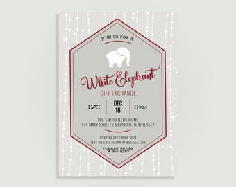 White Elephant Invitation - Holiday Gift Exchange - Secret Santa Christmas party - Personalized Printable File or Print Package  #00274-PIA7