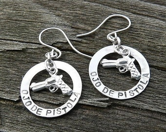 LIMITED TIME SALE Ojo De Pistola Earrings - Solid Sterling Silver - Choice of Earwire or Leverback - Fun Gift Item