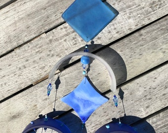 Costal Glass Wind Chime, Recycled, Wine Bottle, WindChime, Wedding, Beach Glass,Glass,Blue, Chime, Wind Chime.