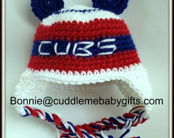 6-9 monthsBaby Shower Gift Crochet Chicago Baby Baseball Baby Cubs Baby Shower Gift Baby Bear Hat Photo Prop Cubs Crochet Hat Photo Prop Hat