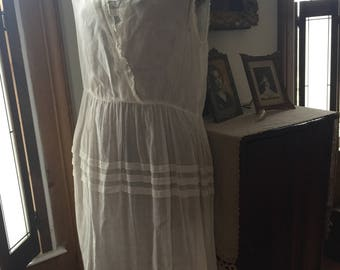 Vintage Edwardian 1910s white cotton dress