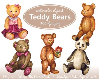 Teddy Clipart, Digital Watercolor Illustration, Teddy Bears Clip Art, Hand-painted, Realistic Vintage Toys Illustration, Commercial use