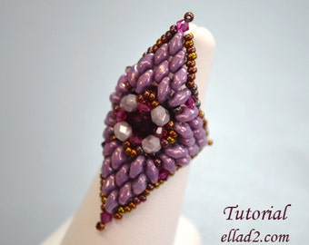 Tutorial Extravaganza Ring - Beading pattern PDF, Instant download