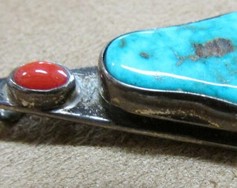 Navajo Sterling Silver, Coral and Turquoise Pendant Signed TKW