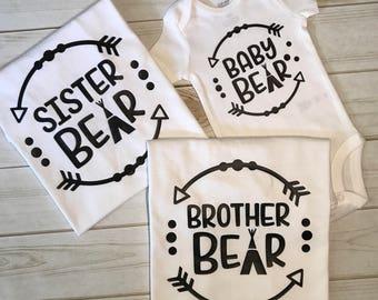 Brother Sister Matching Shirts, Brother Shirts, Sister Shirts, Matching Shirts, Bear Shirts, Family Matching Shirts, Bear Shirt, Bear Tops