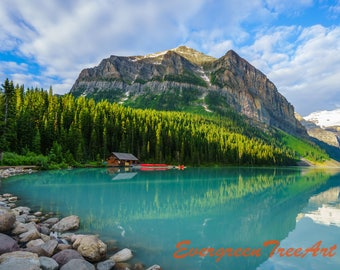 Lake Louise, canoe launch side, Banff National Park, Alberta, Canada, print