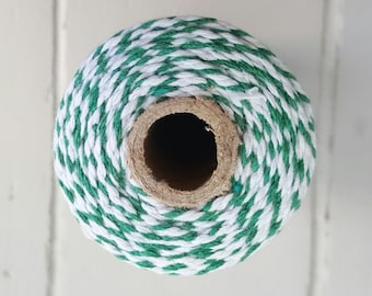 100mt roll 12ply FOREST/WHITE Bakers Twine 100% cotton