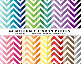 """Chevron Digital Paper Pack 12"""" x 12"""" Commercial and Personal Use - Rainbow - 44 sheets INSTANT DOWNLOAD scrapbooking no credit medium (37)"""