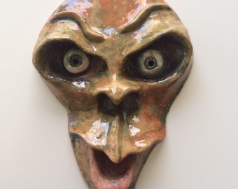 Original Ceramic Sculpture Wall Hanging - Small Face with Bald Head