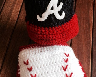 Atlanta Braves Baby - Baseball Cap Diaper Cover Set - Newborn Baseball Set - Newborn Photo Prop - Bring Baby Home Set
