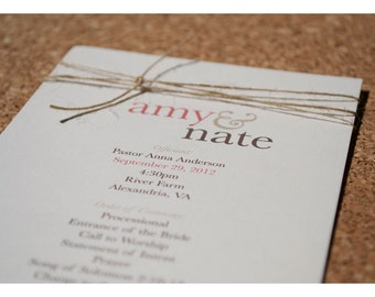 Wedding Programs Coordinate with Simple Knot