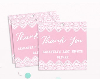 Pink and Gold Baby Shower Tag, Baby Shower Thank You Tag, Printable Shower Tag, Personalized Baby Shower Thank You, Girl Baby Shower