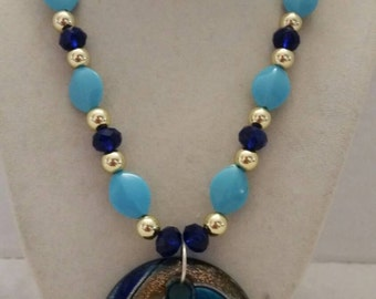 Blue and Gold Necklace Gold and Blue Necklace Vacation Necklace Summer Necklace Blue Beach Necklace One Of A Kind Necklace Vacation Necklace