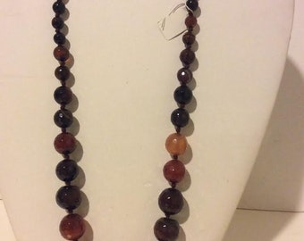 Brown cognac beaded chunky agate short stone necklace