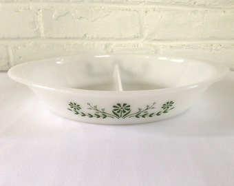 Glasbake Green Floral Divided Casserole Dish