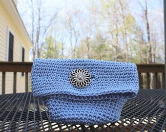 Sky Blue Clutch, Crochet Clutch, Small Make-up Bag, Crochet Make-up Bag, Crochet Bag