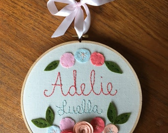 """8"""" EMBROIDERED NAME GIRLS style- Personalized Girl's Name Embroidery 8"""" Hoop Art made with Felt Flowers and Embroidery"""