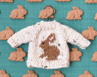 Brown Bunny Tweed Hand-Knit Sweater Ornament