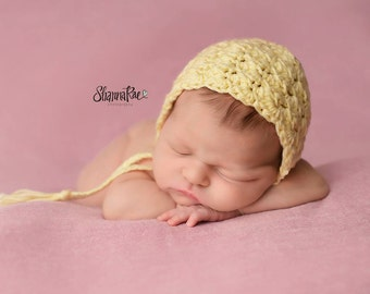 Yellow Baby Bonnet/ Crochet Newborn Bonnet/ Baby Girl Bonnet/Yellow/ Newborn Baby Bonnet/ Cotton Bonnet/ Summer Baby Bonnet