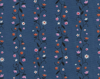 Cotton + Steel Daisy Vines Denim, Wellsummer Fabric