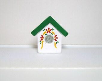 Birdhouse, miniature ceramic birdhouse