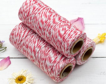 Red  Bakers Twine,  2ply, Metallic Silver Twine,  315 Feet, 1mm Red Cotton Twine - BT3