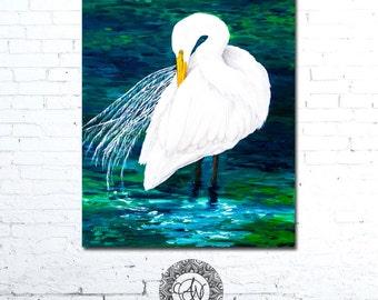 Bird Art, Bird Print, Bird Artwork, Bird Art Print, Wildlife Art, Wildlife Painting, Animal Art, Animal Painting, Egret Art, Egret Painting