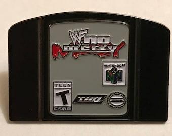 WWE WWF No Mercy N64 Nintendo 64 pro wrestling video game pin 90s