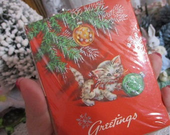 Vintage Christmas Invitations-1950's-UNUSED-Kitten