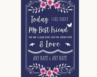 Navy Blue Pink & Silver Today I Marry My Best Friend Personalised Wedding Sign