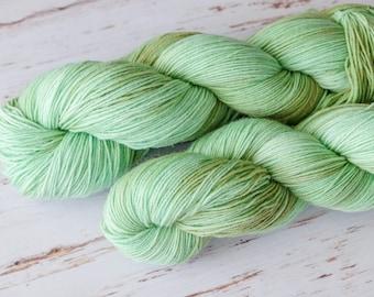 Hand Dyed Superwash  Wool  4 ply sock wool Colorway: smokey mint 100g (3.5 oz)