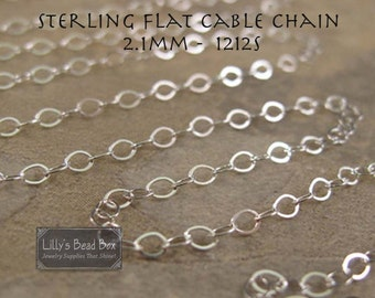 10 Feet of Silver Cable Chain, Ten Feet of Flattened Sterling Silver 2.1mm Cable Chain for Jewelry Making, Everyday Necklace (1212s)