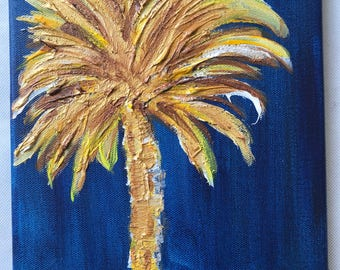 Georgia Southern palm Tree painting/ small unique gift/ 8x10